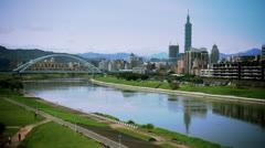 Stock Video Footage of Sunny Taipei Skyline Wide Shot 153GYTS_PAL