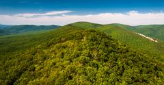 view of the ridge and valley appalachians from big schloss, in george washing - stock photo