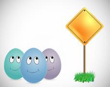 Three eggs looking signboard Stock Illustration