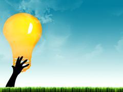 Bulb in hand Stock Illustration