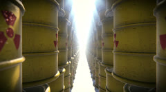 Radioactive barrels Stock Footage