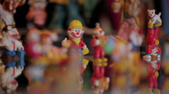 Clown figurines and clock. Stock Footage