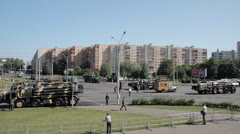 Military in the city. Panorama view Stock Footage