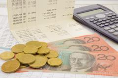 currency and paper money of australia - stock photo