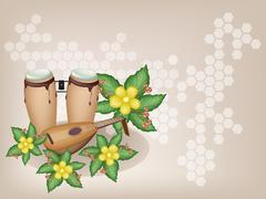 Congas and Lute with Simpor Flowers on Brown Background - stock illustration