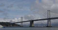 Ultra HD 4K Oakland Bay Bridge San Francisco Skyline, Public, Ferry Commuters Stock Footage