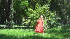 Child Running Butterflies in Wood, Little Girl Playing in Forest Park, Children - stock footage