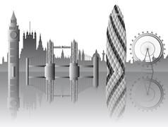 vector london skyline - stock illustration