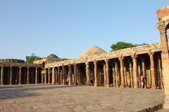 qutub minars pillars - stock photo