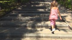 POV Child Climbing Stairs in Park, Playing Girl Stepping, Walking, Children Stock Footage