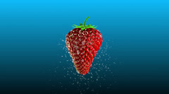 Fresh Strawberry with Splashing Water Loop Stock Footage