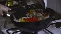 Bell pepper fried with chicken Stock Footage