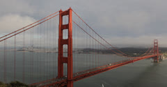 Ultra HD 4K Golden Gate Bridge, Cars Traffic, San Francisco Bay Area Skyline Stock Footage