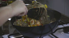Yakisoba means fried noodles - stock footage