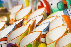 Ceramic cup in row Stock Photos