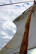 Dhow sail boat rigging in zanzibar Stock Photos
