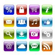 colour web buttons - stock photo