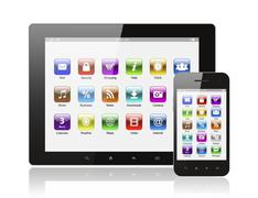 Tablet pc and smart phone with icons Stock Photos