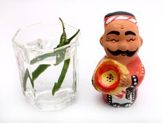 puppet with water - stock photo