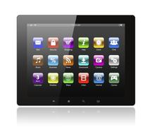 tablet pc with icons - stock photo