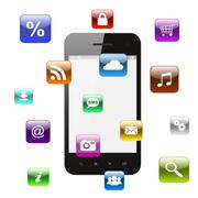 smart phone with flying icons - stock photo