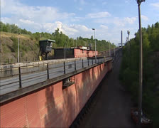 Ronquieres Inclined Plane Boatlift caisson with ship descends - medium shot Stock Footage