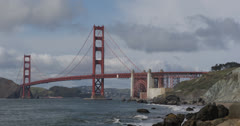 Ultra HD 4K Famous Landmark Golden Gate Bridge, San Francisco Bay, Fog, Foggy - stock footage