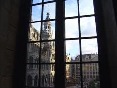 View from window to Breadhouse at Grand Place in Brussels Stock Footage