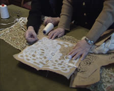 Making needlepoint lace, verifying a pattern Stock Footage