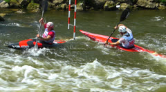 SM Kayaking Canoe competition in fresh water river Germany Bavaria Franconia Stock Footage