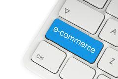 Blue e-commerce button . Stock Photos