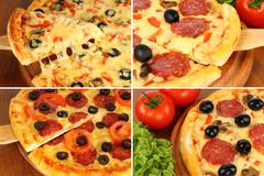 Pizza collage Stock Photos