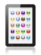 tablet pc with icons . - stock photo