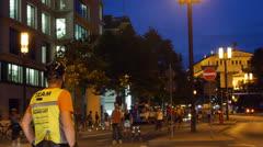 Frankfurt inline skater night ride.mp4 Stock Footage