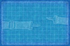 Buckle on strap - Blue Print Stock Illustration