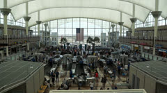 Security Lines at DIA Stock Footage