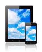 tablet pc and smart phone with blue sky . - stock photo