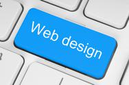 Stock Photo of blue web design button .