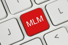 Red mlm (multi level marketing) button . Stock Photos