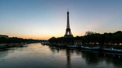 Sunrise at Eiffel Tower and Seine River Stock Footage