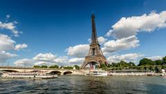 Eiffel Tower and Seine River - stock footage