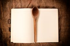 Stock Photo of cookbook and ladle