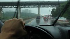 Rainy drive in Toronto. DVP and Leaside bridge. Stock Footage