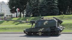 Big tank is on the city street Stock Footage