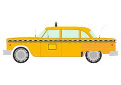 Retro yellow cab silhouette. Stock Illustration
