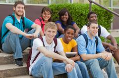 Stock Photo of a group of multicultural college students, friends