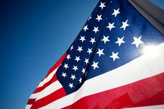 Amereican flag display commemorating national holiday Stock Photos