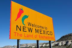 "yellow ""welcome to new mexico"" sign - stock photo"