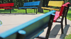 Colorful Benches at a Park Stock Footage