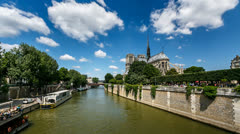 Notre Dame Cathedral and Seine River Stock Footage